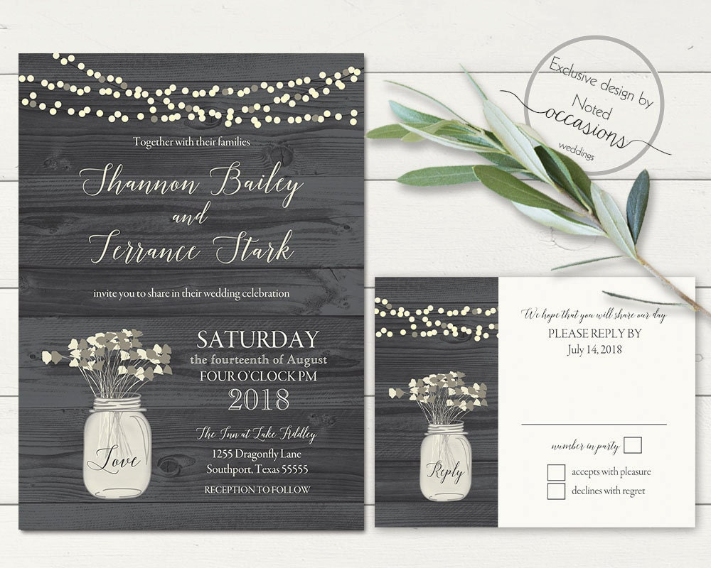 Rustic Mason Jar Wedding Invitation Mason Jar Floral Rustic