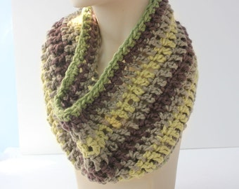 Organic Cotton Crochet Cowl Scarf, Brown Green Striped Neckwarmer, Eco Friendly, Ready to Ship