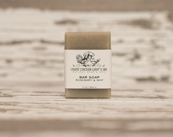 Rosemary & Mint All Natural Soap, Cold Process Soap, Moisturizing Soap, Vegan Soap, Bar Soap