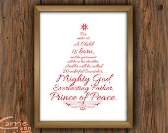 Christmas Tree Scripture, Child Born, Isaiah 9:6 Downloadable, Printable