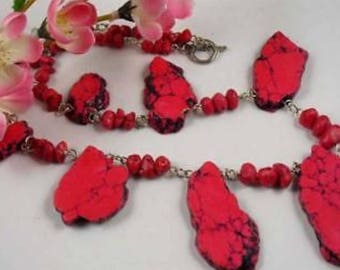 """PINK TURQUOISE HOWLITE crystal necklace 18"""""""