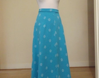 vintage blue 70s crimplene maxi skirt geometric 12 14
