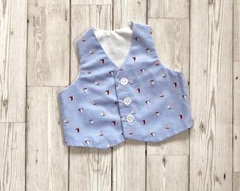 Nautical Boys Waistcoat - Blue Boys Waistcoat - Christening Outfit - Baby Waistcoat - Sailor Waistcoat - Boys Sailor Outfit - Newborn Outfit
