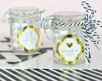 Personalized Metallic Foil Glass Jar with Swing Top Lid - Wedding MINI - 24 pieces