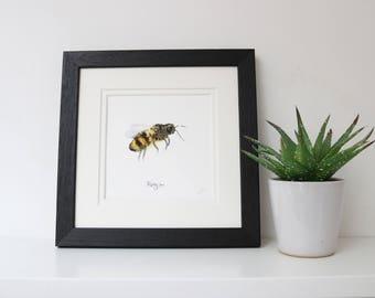 Flying Bee Framed Square Print