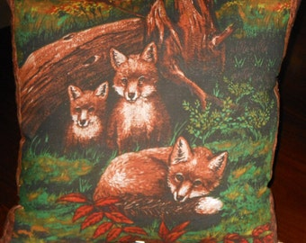 Foxes Pillow, 14 X 14 Decorative Pillow