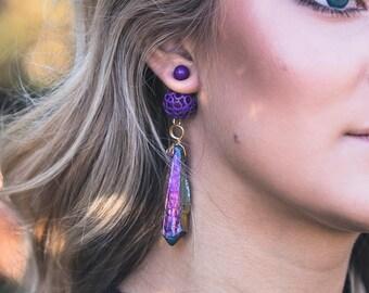 Ultra Violet Double Sided Earrings Long Dangle Earrings Purple Jewelry For Women Unique Statement Earrings Gemstone Gift For Girlfriend Wife