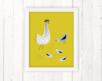 Retro Kitchen, Chicken Art Print, Kids Room Decor, Chicken Decor