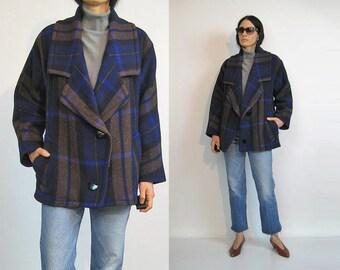 Cobalt n Cocoa Plaid Wool Coat / Vintage 80s Plaid Wool Coat / 1980s Oversized Boxy Wool Coat / Large Collar Coat / Plaid Coat
