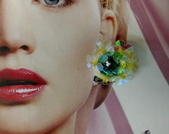 Nectar for the Ears. Ear Candy. Retro Pinup Sequin Flower Earrings. clip on.
