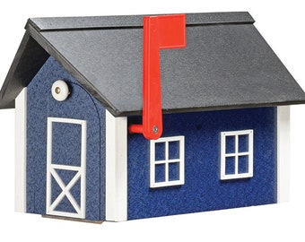 Standard Poly Mailbox - Blue & White w/ Black Poly Roof