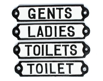 Vintage Toilet Door Signs Cast Metal -  Toilets, Ladies & Gents Mens Womens WC Antique Style Railway Cast Iron Style Bathroom Signs
