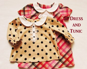 Dress and tunic for baby and toddler, baby girl's pdf sewing pattern, children's sewing pattern to fit 3 months to 2 years, dress for girls.