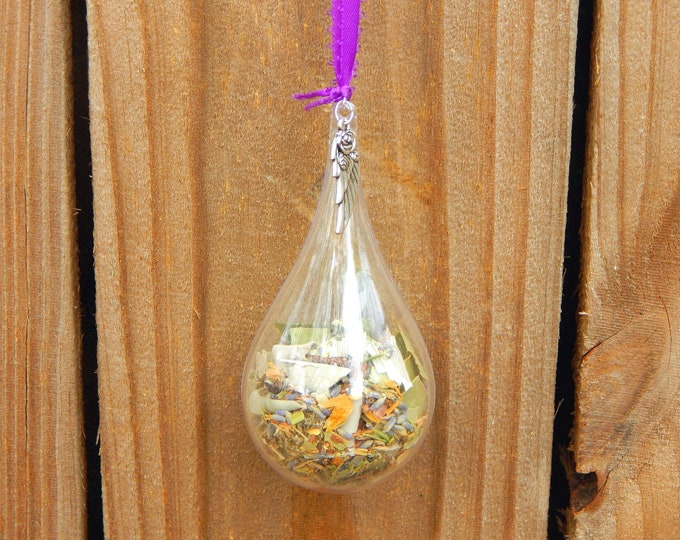 WITCHES' BALL unbreakable personalized plastic ornament with protective herb blend - Home decor talisman Pagan Wiccan