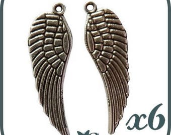 LOT 6 WINGS CHARMS SCRAPBOOKING CHARMS BEADS JEWELRY