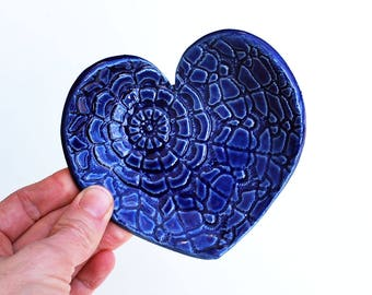 Blue Heart Dish - Ceramic, Pottery - Spoon Rest, Soap Dish, Tea Bag Rest, Jewelry Dish, Ring Holder - Valentine Gift - Blue Lace Heart Dish