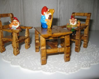 decor set table and two chairs in miniature