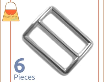 "1.25 Inch Slide for Purse Straps, Shiny Nickel Finish, 6 Pieces, Handbag Bag Making Supplies Hardware, 1-1/4"", BKS-AA026"