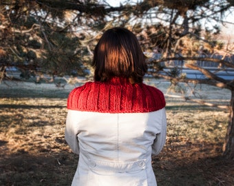 Red Ribbed Knitted Cowl