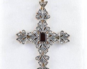 REDUCED!  Retro garnet and rose cut diamond large cross