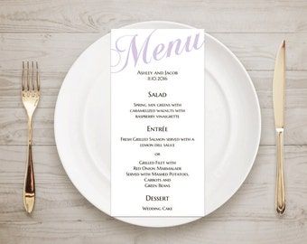 Wedding menu printable Purple menu Digital download menu cards Minimalist menu Table cards Wedding table decor Classic wedding menu T52