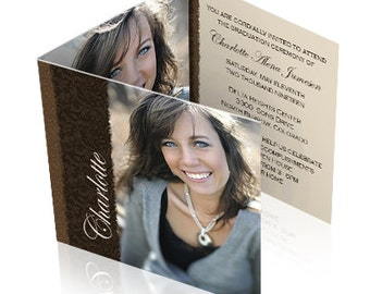 Printed Beautiful Tri Fold Graduation Announcements - sets of 25