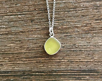Sea glass necklace, sea glass jewelry, seaglass necklace, rare sea glass pendant, seaglass pendant, sea glass collector necklace, gift, kelp