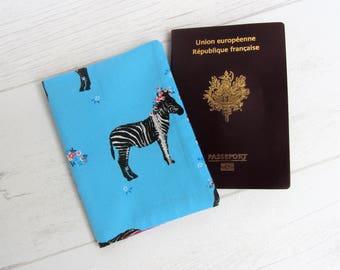 Passport Zebra, Zebra Passport case, passport fabric blue, woman Passport case