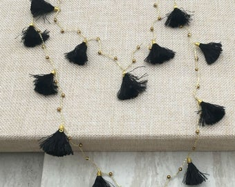 Steffie Layering Necklace Long Black Tassel Necklace Tassel Strand Statement Necklace, Layered Necklace,Layered and Long, Gift for Friend