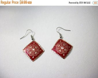 ON SALE Vintage 1950s Copper Etched Metal Gold Tone Earrings 62816