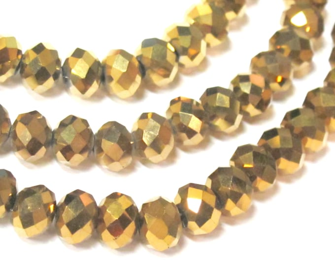 30 beads - Faceted rondelle metallic gold color AB shiny  crystal glass beads -  8 mm - AB050