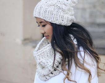 Cable Hat and Cowl Scarf Set