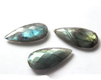 Labradorite loose gemstones 142.05 carats 22x45 mm for Semi Precious briolette  faceted Cut Gemstone for Jewellery 3Pcs