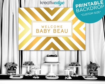 GOLD & WHITE STRIPES Backdrop Banner Design **Custom Size** for Birthday, Wedding, Engagement, Baby Shower, Party - Printable File