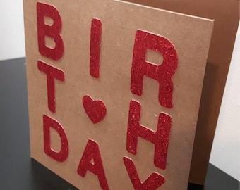 Square handmade birthday card red glitter statement