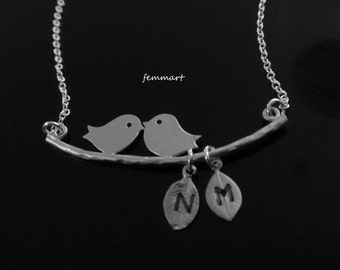 Love Birds Necklace great for couples personalized with initial charms