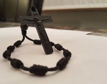 Black knotted Paracord pocket Rosary