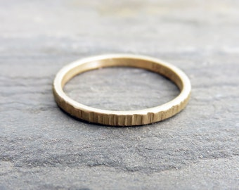 2.5mm Wide, 14k Thin Gold Wood Grain Wedding Ring - Gold Tree Bark Ring - Flat Band in Yellow, Rose, or White Gold - Notched, Textured Ring