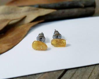 Amber earrings - amber studs - raw amber - amber jewelry - amber stud earrings - raw amber studs - Baltic amber earrings - raw amber jewelry