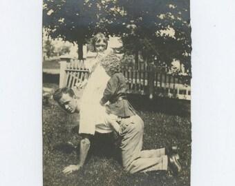 Vintage Snapshot Photo: Piggyback, c1930s (612530)