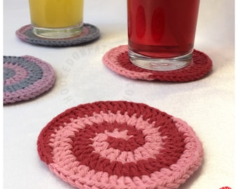 Candy Swirl Coasters - Spiral Coaster Crochet Pattern - Crochet PDF Pattern Download ONLY