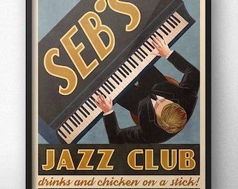 Seb's Jazz Club Retro Vintage Ad Poster