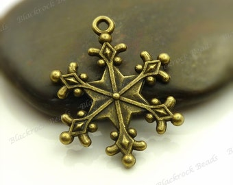 6 Snowflake Charms (Double Sided) 28x24mm Antique Bronze Tone Metal - Snowflake  - BL2