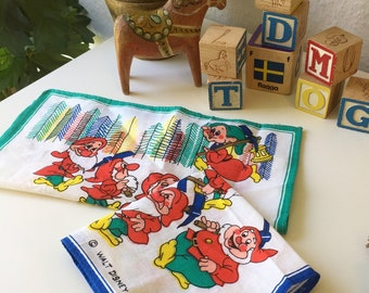 Vintage/ Disney/ hankerchief / the 7 dwarfs / seven dwarfs/ Snow white and the seven dwarfs/ Blue / green