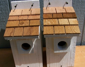 2 white bluebird houses nest with cedar shake roof handmade by Cedarnest