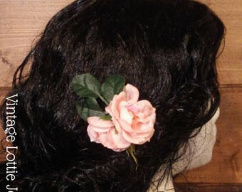 Pink Rose Blossom Hair flowers, set of 3