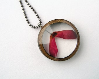 Japanese Maple Seed Resin and Wood Necklace Pendant: Nature Jewelry with Real Plants