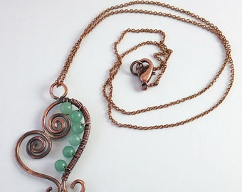 Olwyn necklace copper and aventurine stones Mackerel Sky Spring 2018 collection ferns