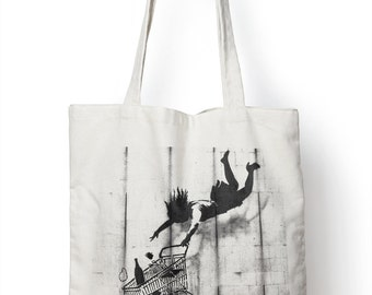 Banksy Shop Till you Drop Tote Shopper Bag For Life Shopping Graffiti Urban E44