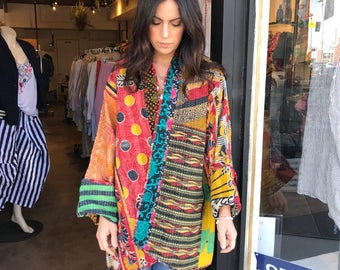 Plus size cotton reversible kantha jacket in amazing colors